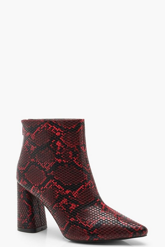 Snake Block Heel Pointed Shoe Boots