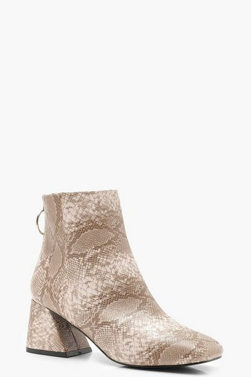 Womens Beige Snake Low Flare Block Heel Shoe Boots