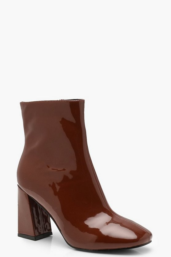 Caramel Square Toe Block Heel Shoe Boots