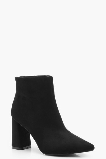 Womens Black Block Heel Pointed Shoe Boots