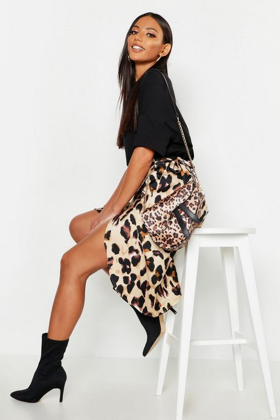 Womens Tan Leopard Print Satin Wrap Midi Skirt