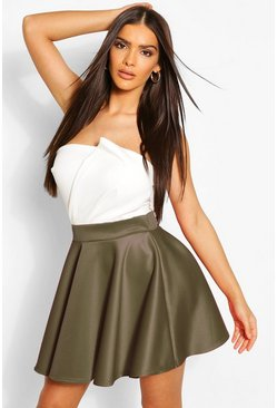 Khaki Basic Scuba Full Skater Mini Skirt