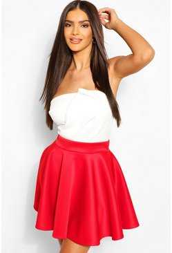 Red Basic Scuba Full Skater Mini Skirt