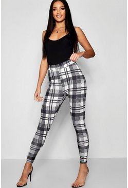 Black Mono Check Crepe Leggings