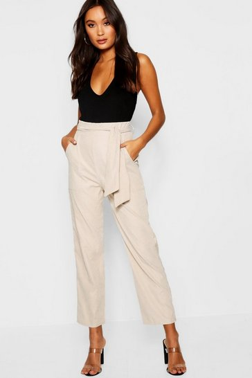Womens Stone Woven Tie Waist Cargo Trousers