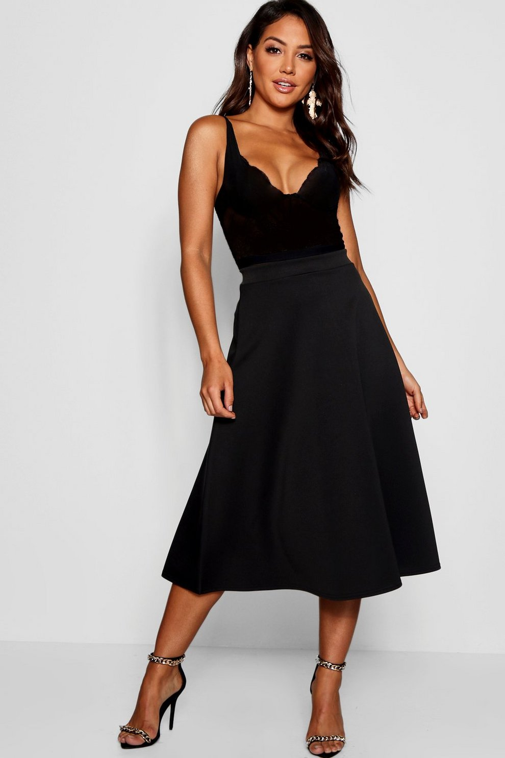 3ca691fbea Womens Black Full Circle Midi Skirt