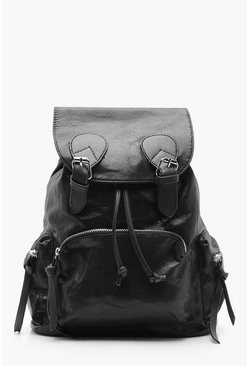Womens Pewter Shimmer Buckle Rucksack