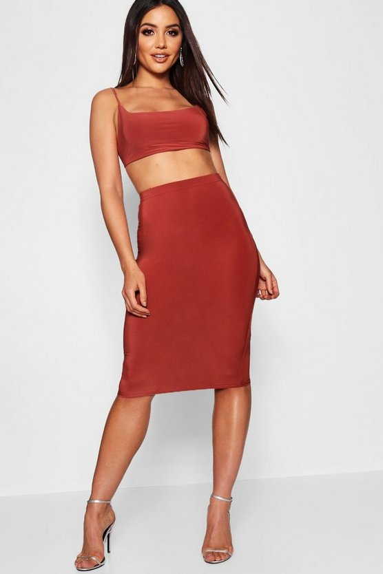 Womens Rust Tie Back Bralet And Midi Skirt
