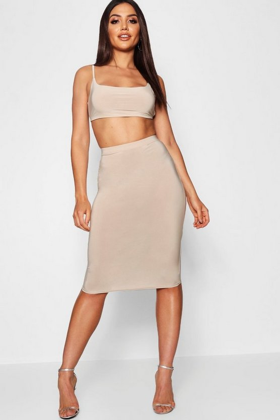 Womens Stone Tie Back Bralet And Midi Skirt