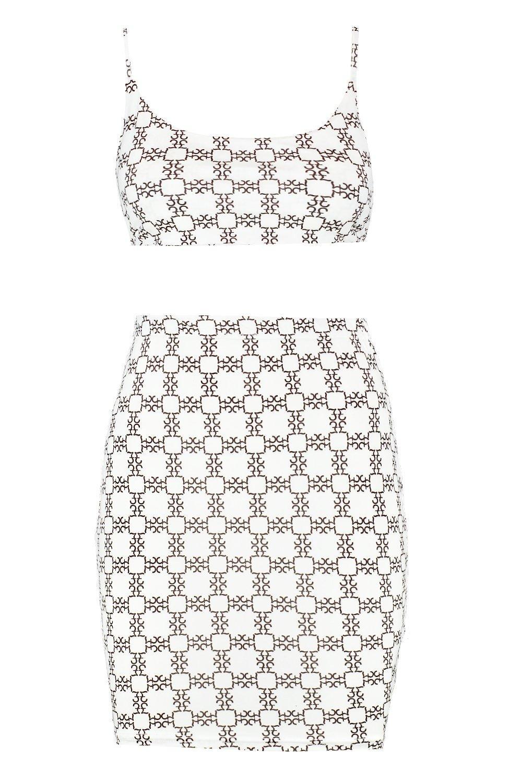 corpiño Minifalda con completo la nudo en blanco y espalda estampado Pqqrgdw