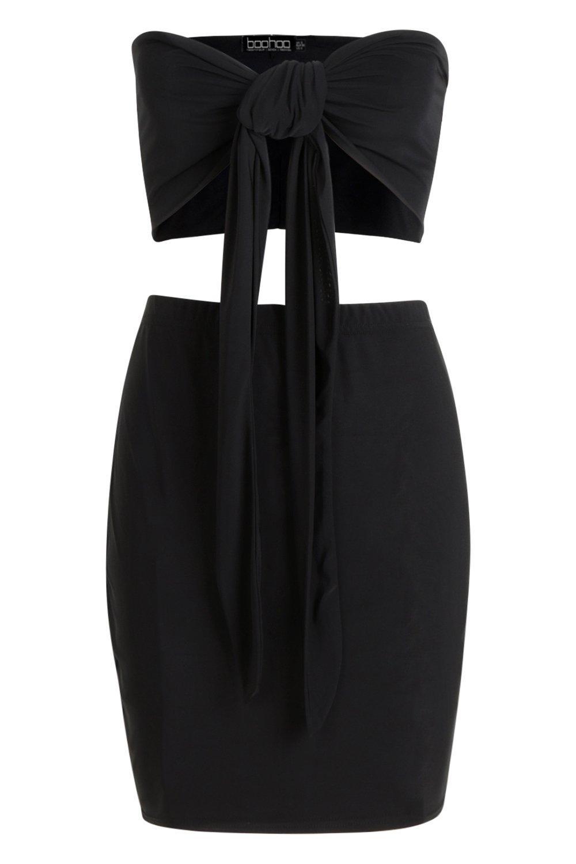 negro corpiño Minifalda y delante nudo por con 5BwYxrB