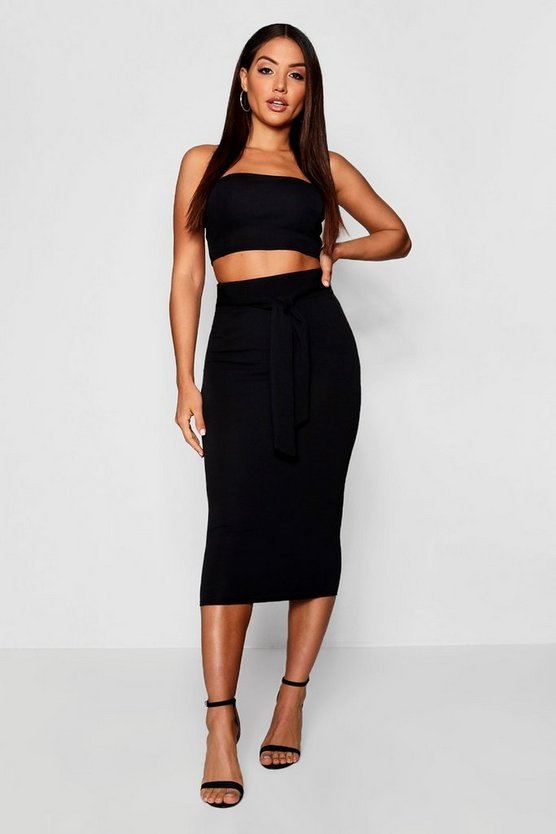 Womens Bandeau Tie Detail Midi Skirt Co-Ord