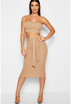 Camel Bandeau Tie Detail Midi Skirt Co-Ord Set