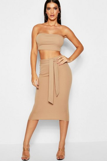 Womens Camel Bandeau Tie Detail Midi Skirt Co-Ord