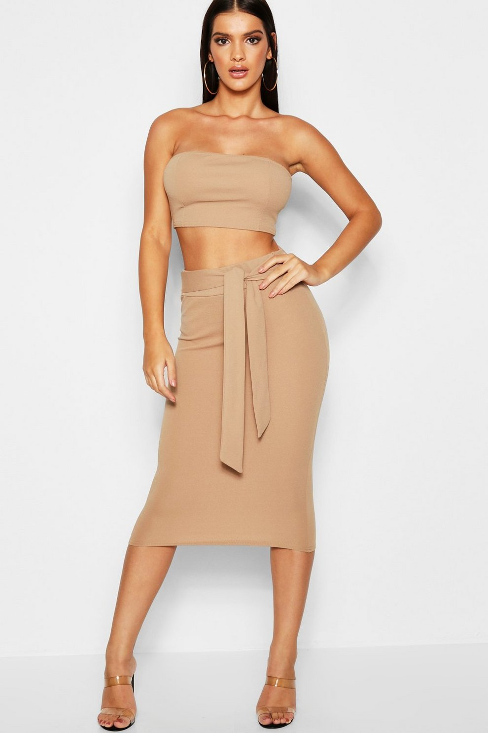 bc27fda40b Womens Camel Bandeau Tie Detail Midi Skirt Co-Ord