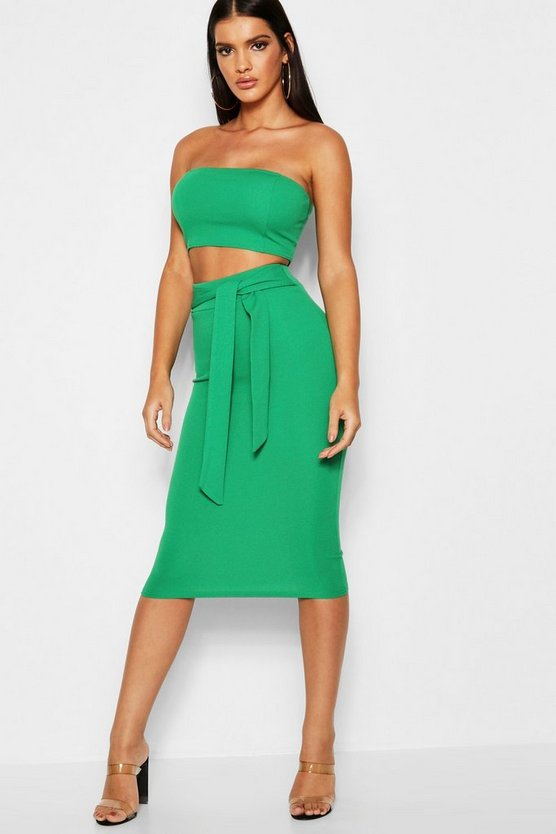 Womens Emerald Bandeau Tie Detail Midi Skirt Co-Ord