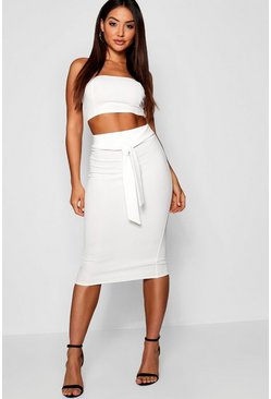 Ivory Bandeau Tie Detail Midi Skirt Co-Ord