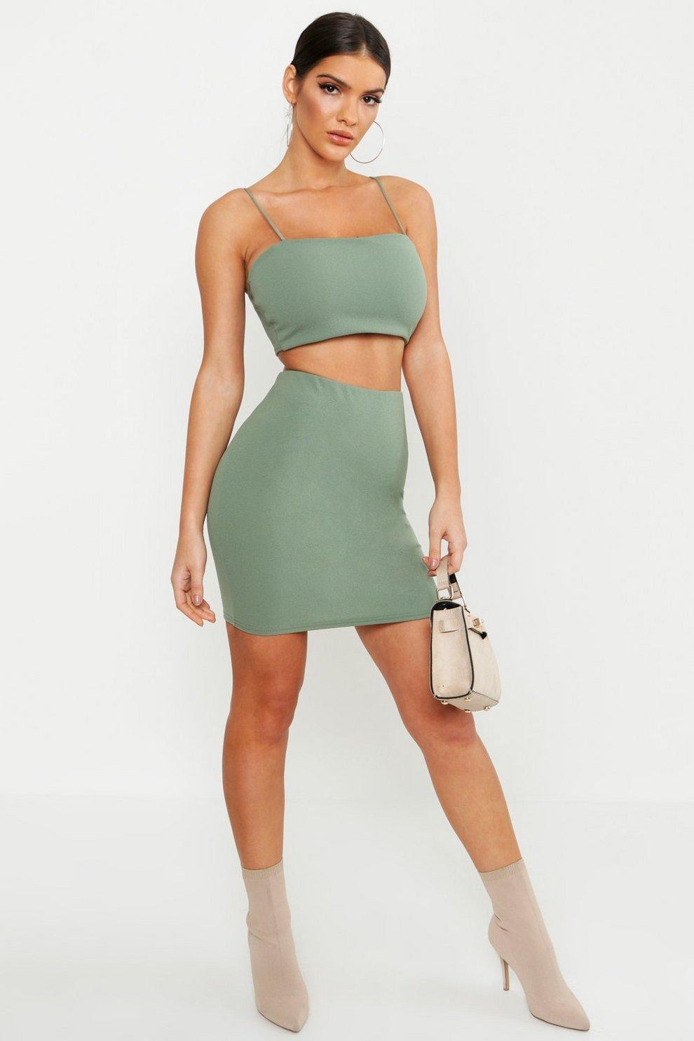 05d563d95450 Strappy Crop + Mini Skirt Co-Ord Set | Boohoo