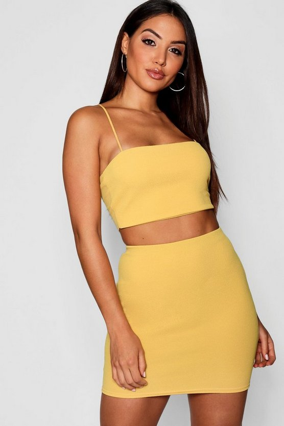 Womens Mustard Strappy Crop + Mini Skirt Co-Ord Set