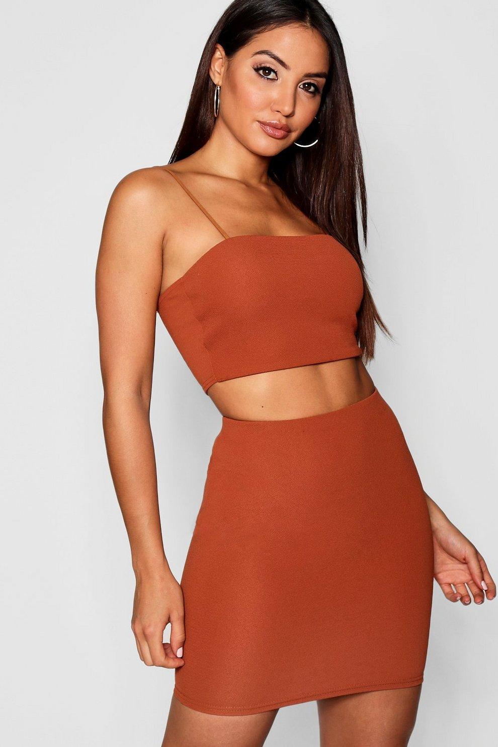 e40e461c6c1d Womens Rust Strappy Crop + Mini Skirt Co-Ord Set