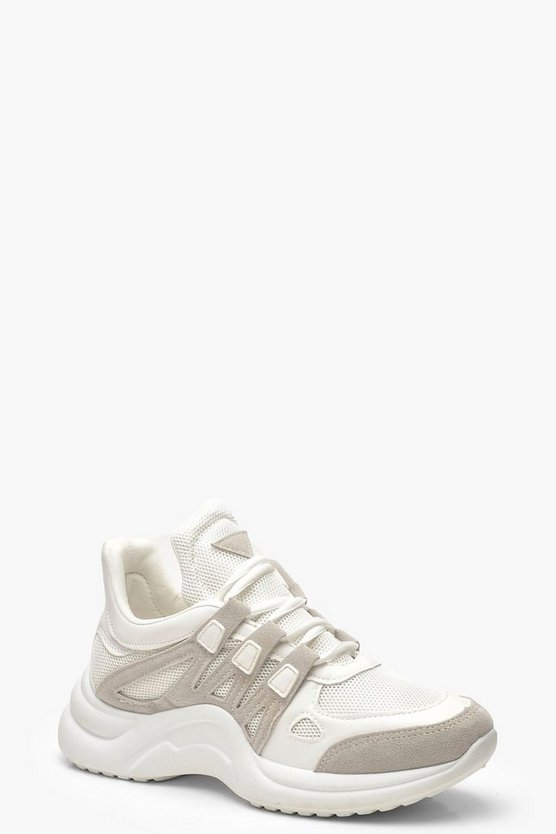 White Retro Chunky Sports Sneakers