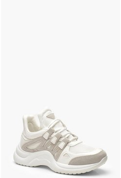 Womens White Retro Chunky Sports Trainers