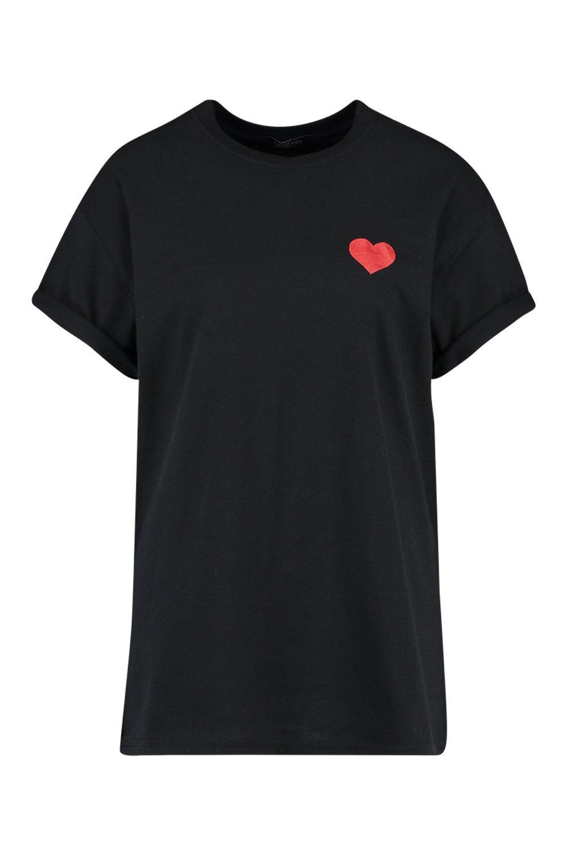 Camiseta estampado corazón de negro con Bv6yv71