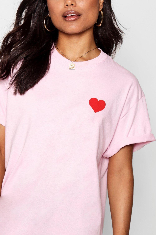 con estampado corazón de negro Camiseta Fw5Uqdw