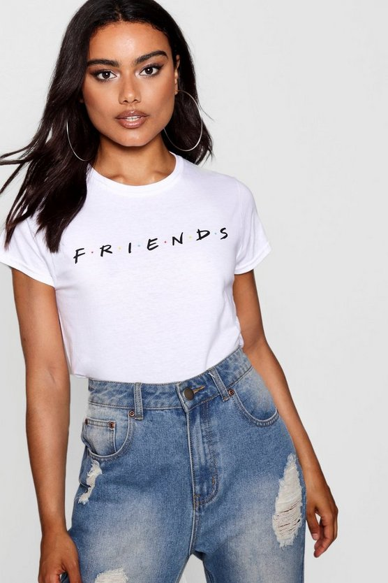Womens White Friends Licensed T-Shirt