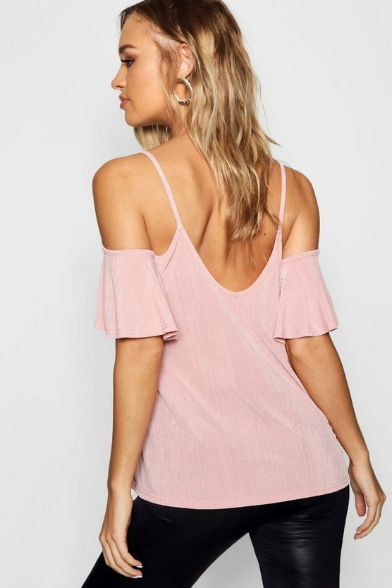 Cold Shoulder Pleat Swing Cami
