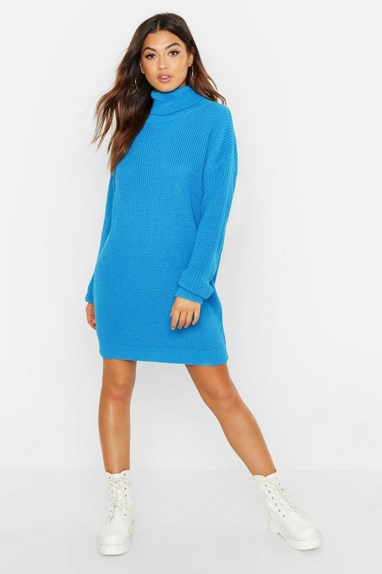 Womens Blue Roll Neck Sweater Dress