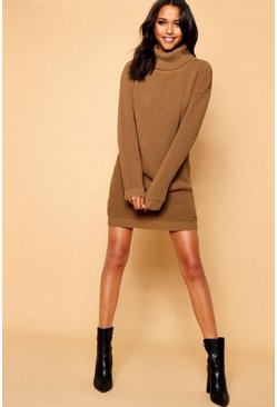 Camel Roll Neck Jumper Dress