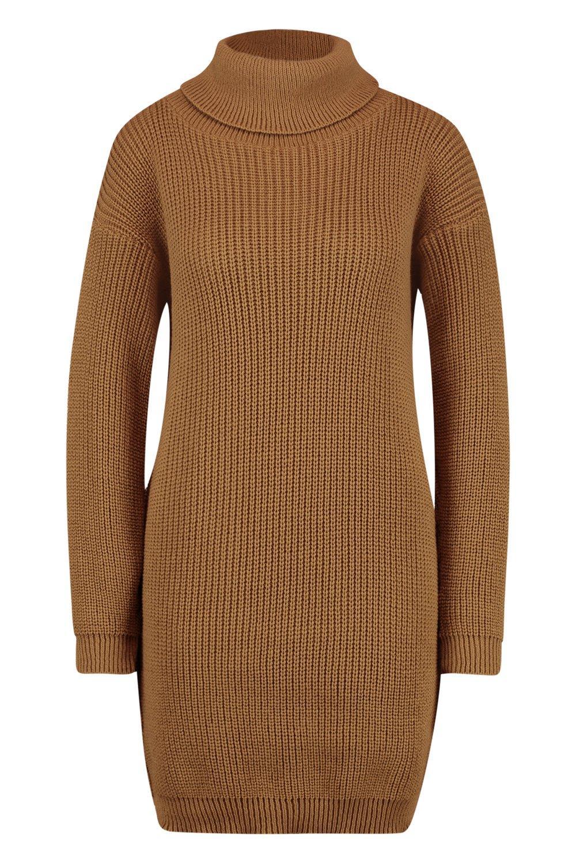suéter camel cuello vuelto con estilo Vestido 6P14wqSS