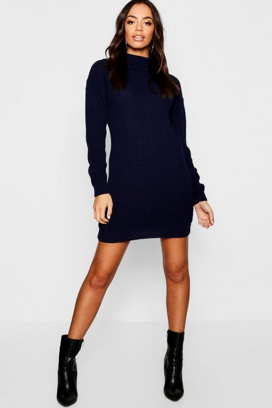 Womens Navy Roll Neck Jumper Dress