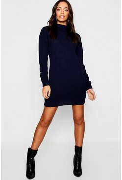 Womens Camel Roll Neck Jumper Dress
