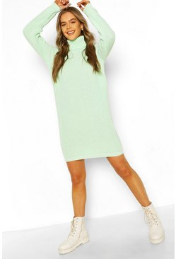 Pale green Roll Neck Jumper Dress