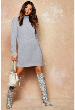 Silver Roll Neck Jumper Dress