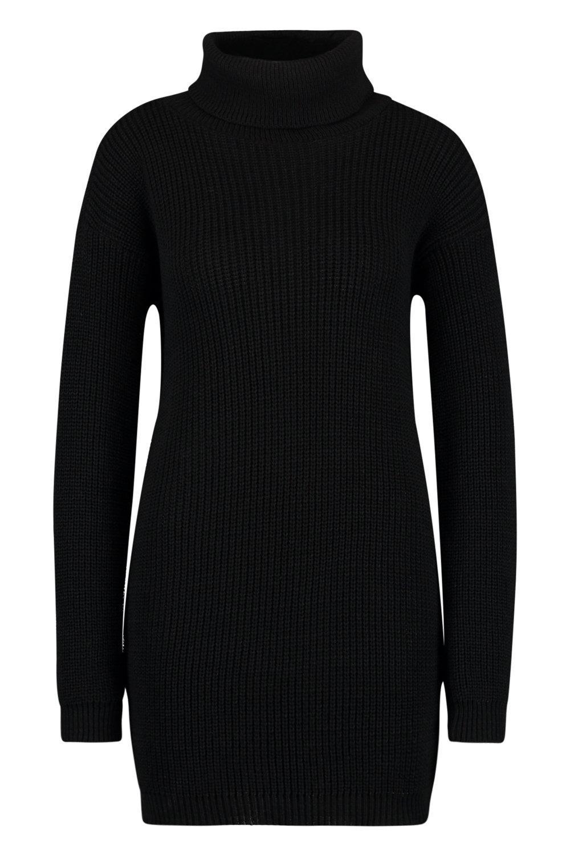 cuello suéter vuelto estilo negro Vestido con O4qppw