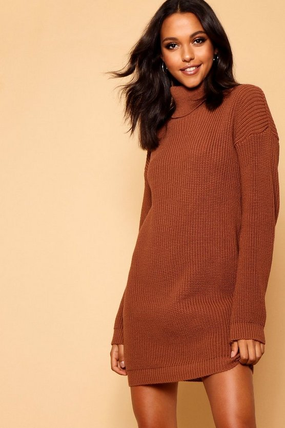 Womens Chocolate Roll Neck Jumper Dress