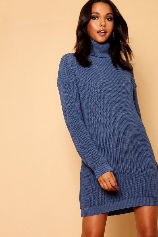 Womens Denim Roll Neck Sweater Dress