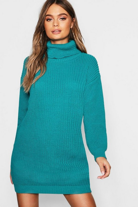 Womens Emerald Roll Neck Jumper Dress