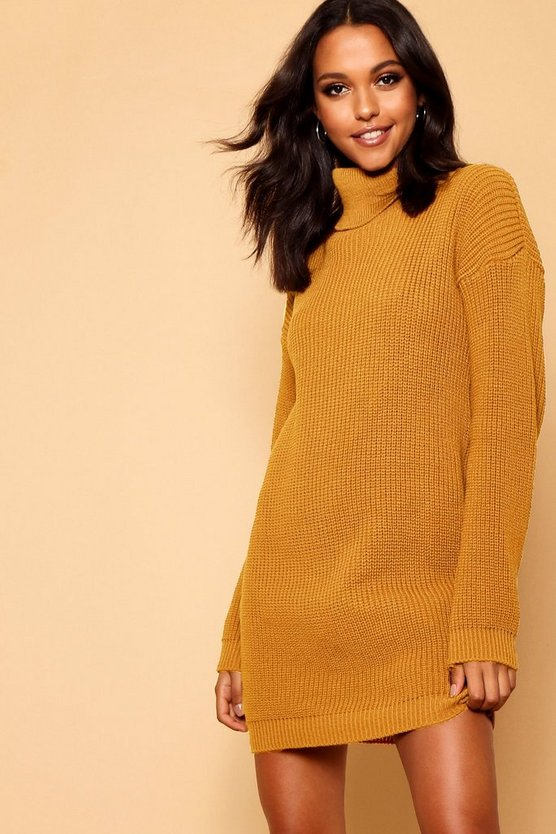 Womens Mustard Roll Neck Jumper Dress