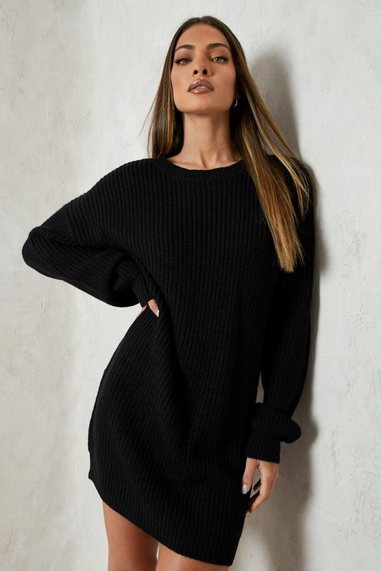 Womens Black Crew Neck Sweater Dress