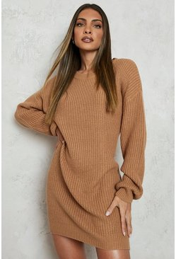 Womens Camel Crew Neck Sweater Dress