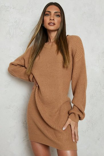 Womens Camel Crew Neck Jumper Dress
