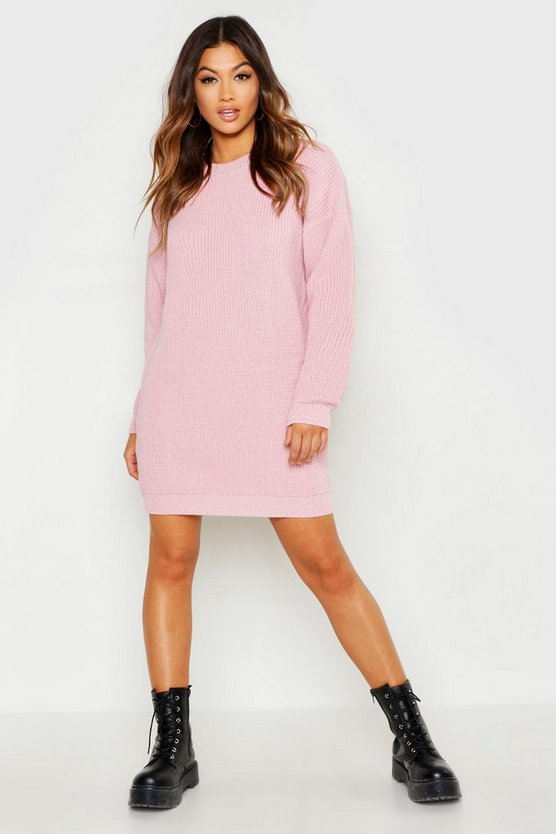 Womens Blush Crew Neck Jumper Dress