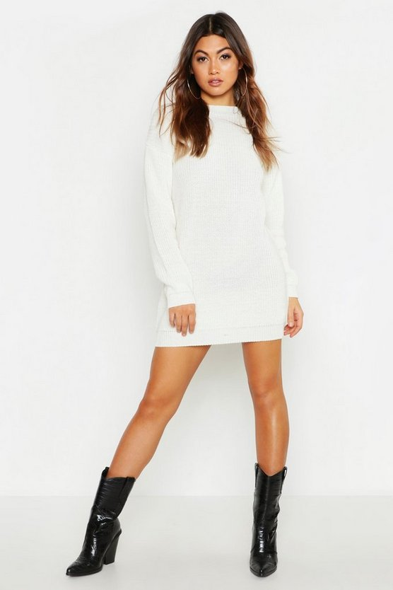 Womens Ivory Crew Neck Jumper Dress