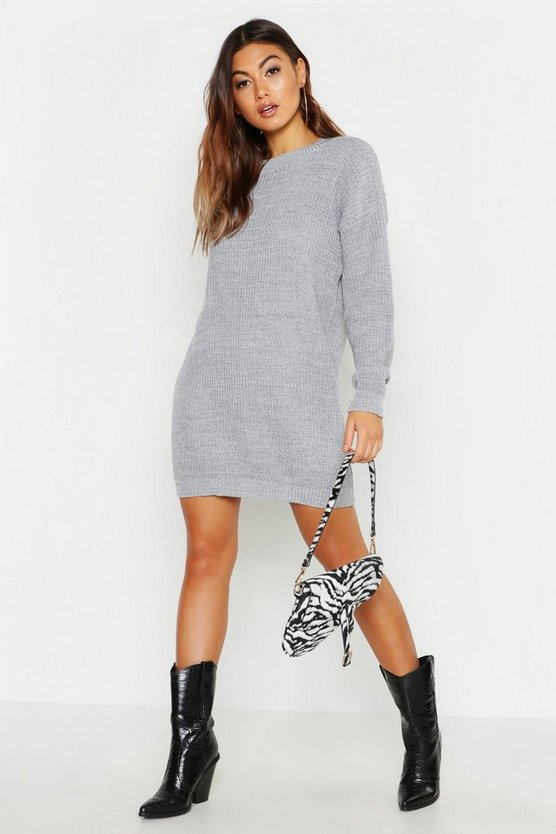 Silver Crew Neck Sweater Dress