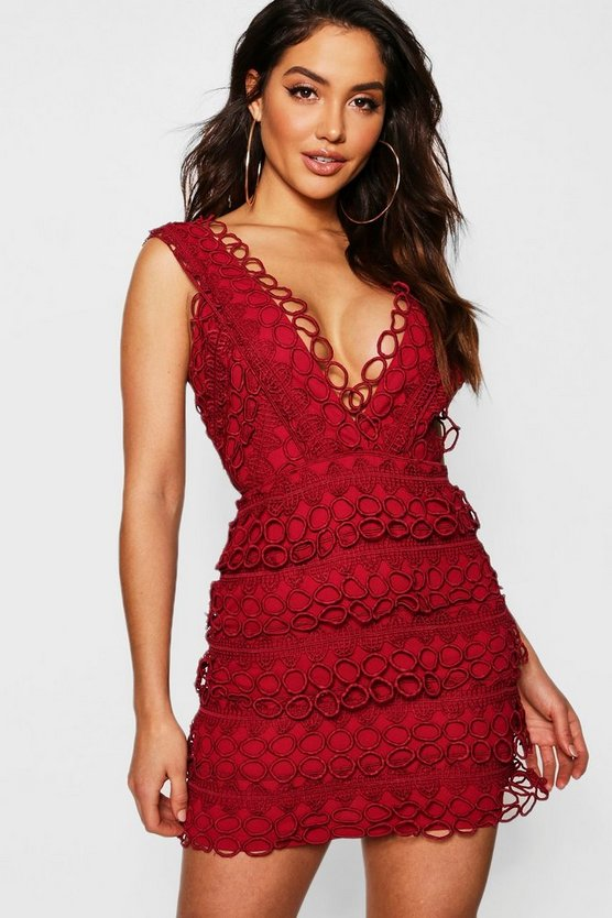 Womens Berry Lace Plunge Neck Panelled Bodycon Dress