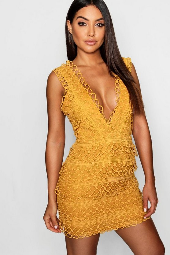 Mustard Lace Plunge Neck Panelled Bodycon Dress